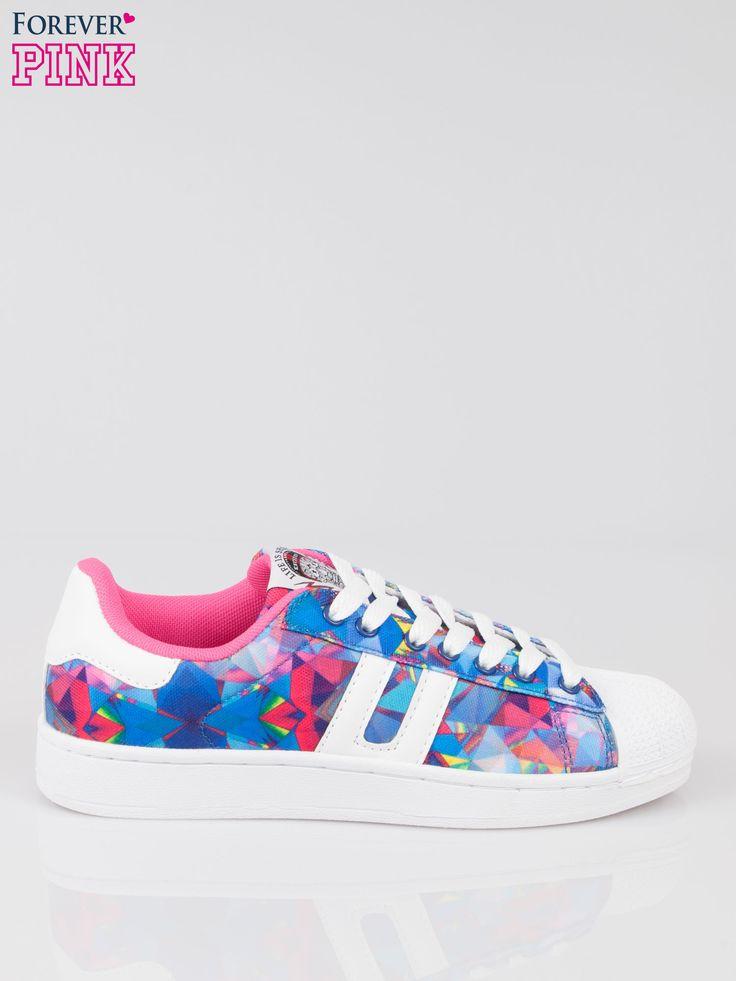 Niebieskie adidasy z motywem kwiatowym Buty \ Buty sportowe Forever Pink \ Buty Butik 161530