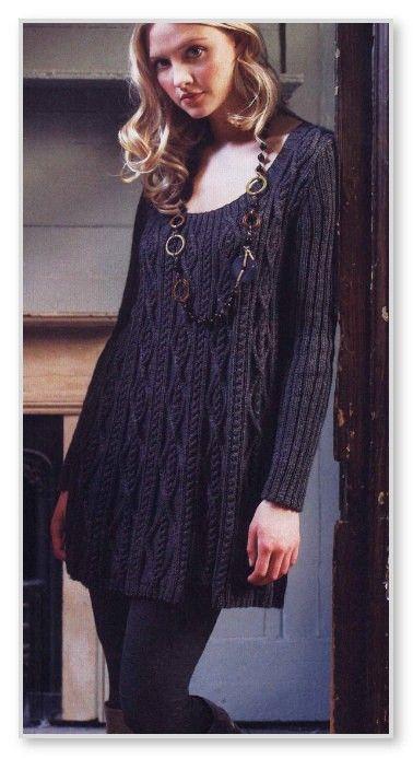 Вязание спицами. Однотонное платье-туника А-силуэта, с рельефными дорожками. Размеры: 38-40 (40-42, 42-44)