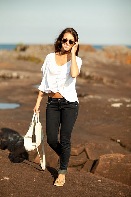 sperry top siders. jeans. white top. casual