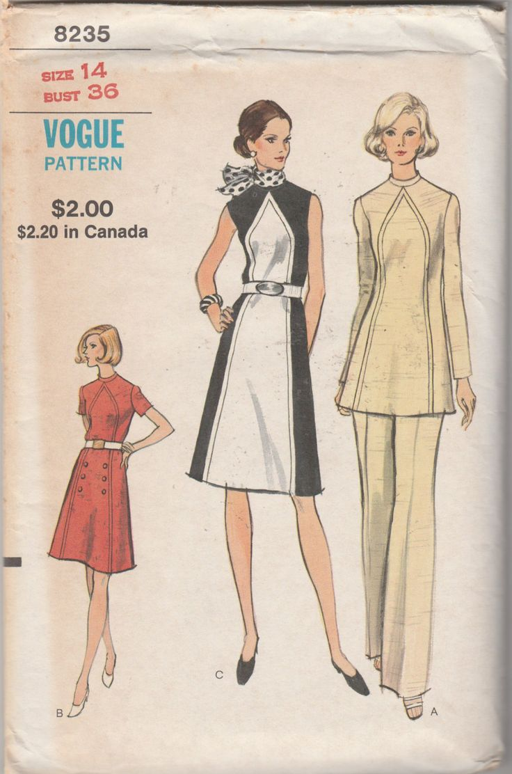 """Vogue 8235 Misses' And Half Sizes Dress, Tunic And Pants Bust 36"""" UNCUT by ThePatternShopp on Etsy"""