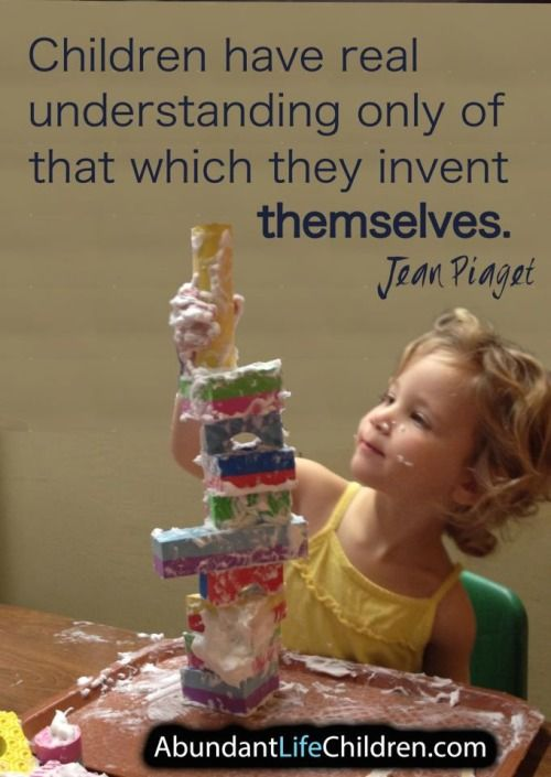 Jean Piagets theory focuses on cognitive development. This picture shows a child learning through play.