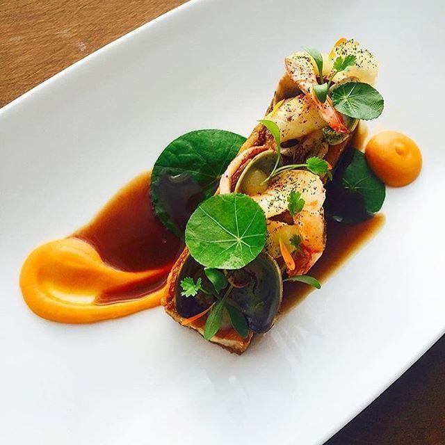 Surf & Turf: crispy pork belly, pan seared prawns, calamari with mango, carrot & sour apple. ✅ By - @chefjasonhoward ✅  #ChefsOfInstagram