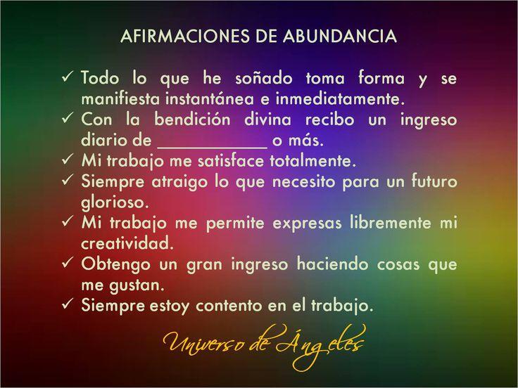 Afirmaciones de abundancia.  #UniversoDeAngeles