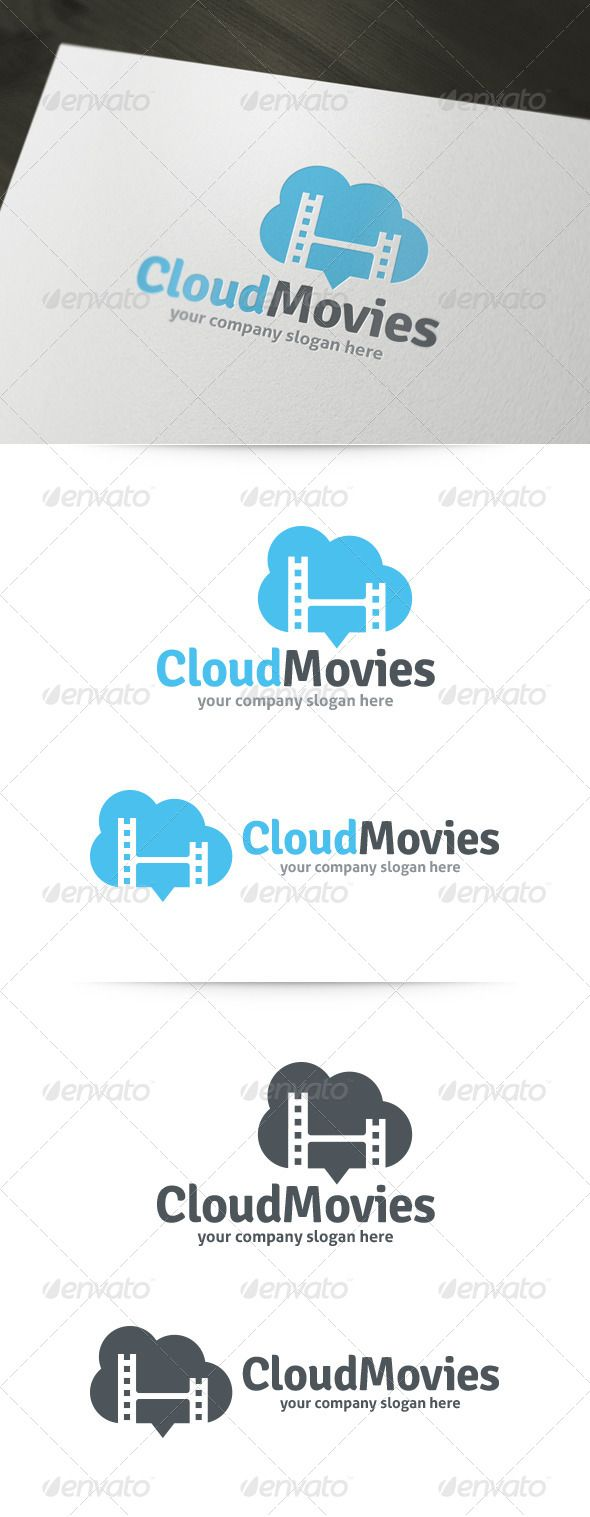 Cloud Movies - Logo Design Template Vector #logotype Download it here: http://graphicriver.net/item/cloud-movies-logo/5975405?s_rank=1011?ref=nexion
