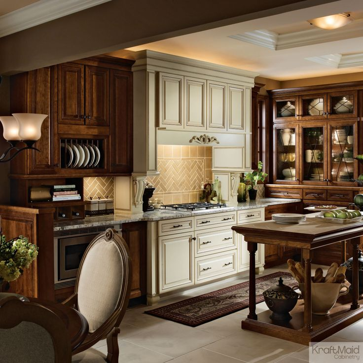 A Traditional KraftMaid Kitchen Featuring Chocolate Stain