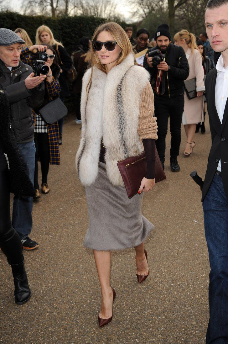 Olivia piled on the cozy layers by pairing a fuzzy vest with a warm   54 Times Olivia Palermo Made Us Hate Our Outfits   POPSUGAR Fashion Photo 41