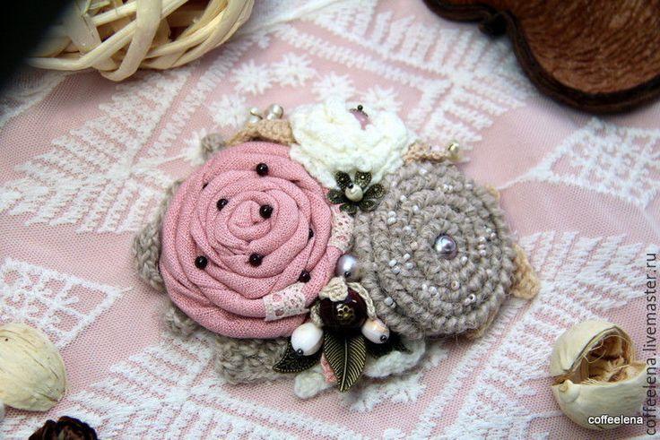 """Купить Брошь """"Опаловая роза"""" - бледно-розовый, шебби, винтаж, украшения ручной работы"""