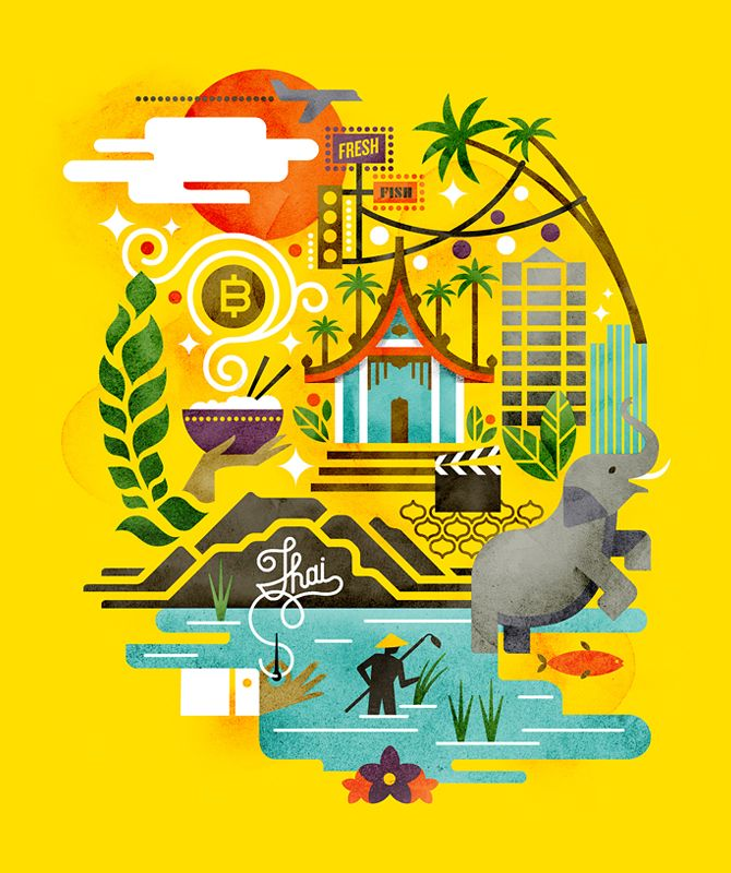 Monocle Thailand | Cover art for Monocle's 2012 Thailand travel insert. The goal was to show a connected relationship between the tourism, culture, and commerce of the country | Matt Lehman Studio