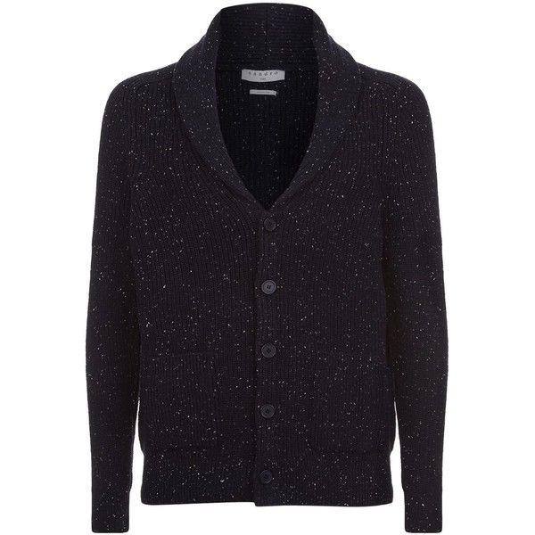 Sandro Shawl Lapel Cardigan (€355) ❤ liked on Polyvore featuring men's fashion, men's clothing, men's sweaters, mens cardigan sweaters, mens shawl collar cardigan sweater, mens chunky knit sweater and mens shawl collar sweater