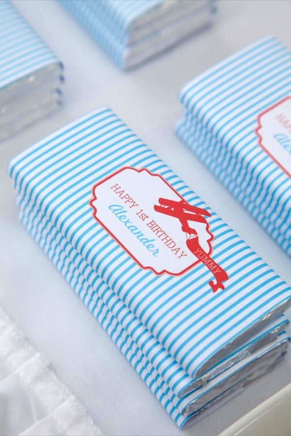 A Vintage Airplane First BirthdayParty Candy Bar Favors - Baby Blog -