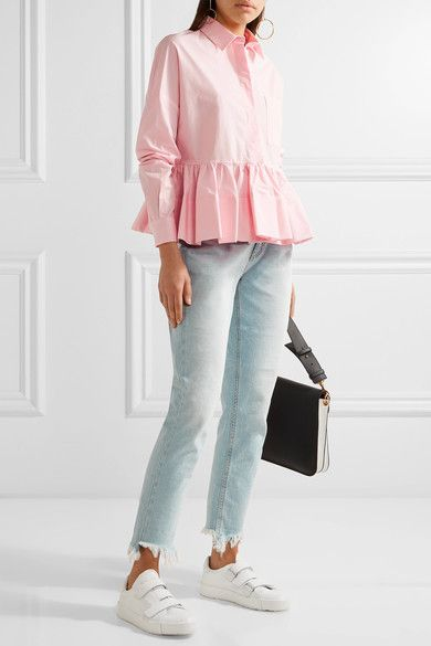MSGM - Stretch Cotton-blend Poplin Peplum Shirt - Baby pink - IT