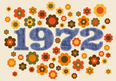 Coole Einladungskarte mit typischen Seventies-Blumen und Zahl 1972 in Jeanslook