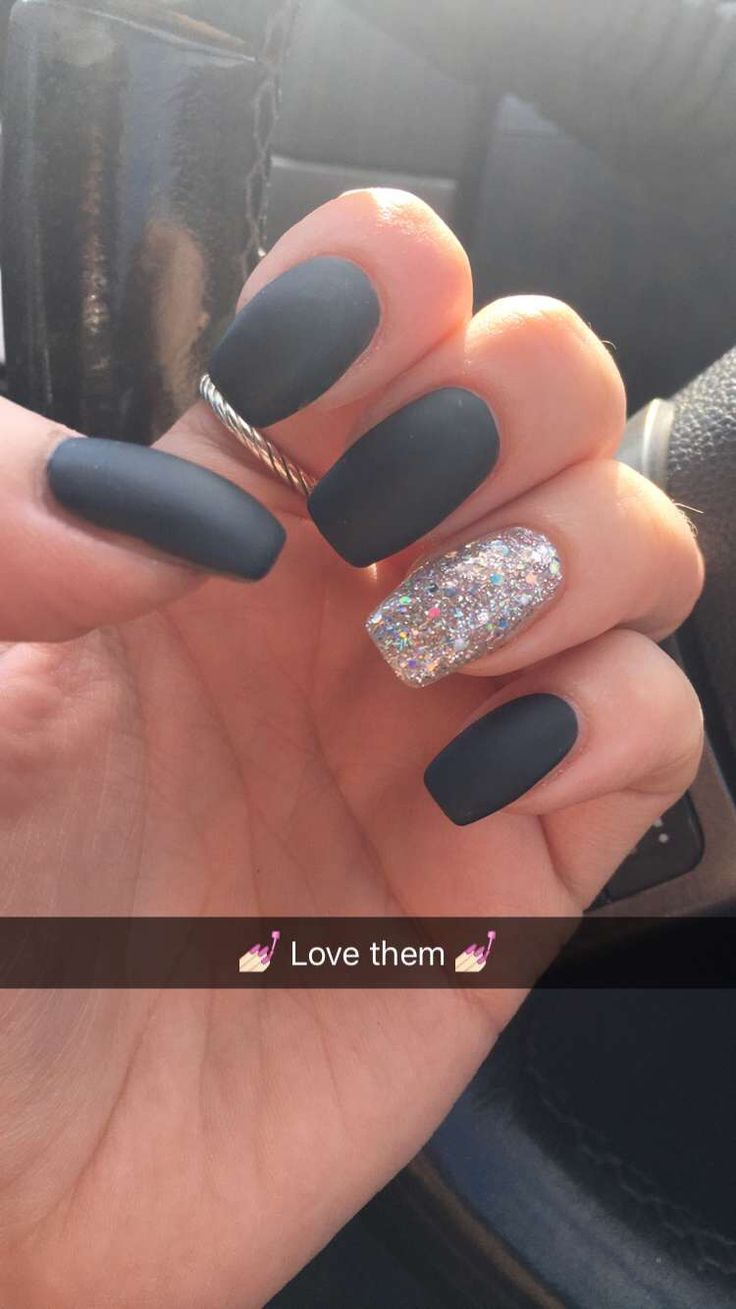 Matte Dark Gray & Silver Glitter accent nail ️ | Your ...