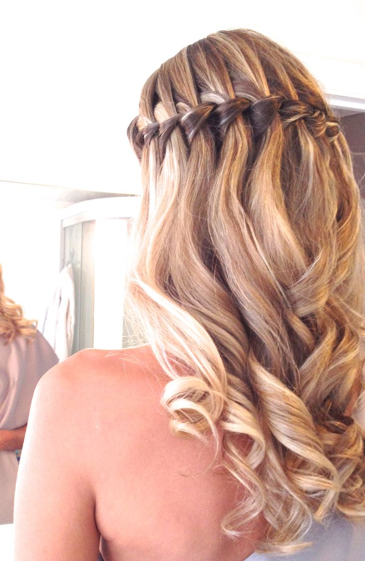 Waterfallbraid hairstyle wedding curls highlights blonde hair waves
