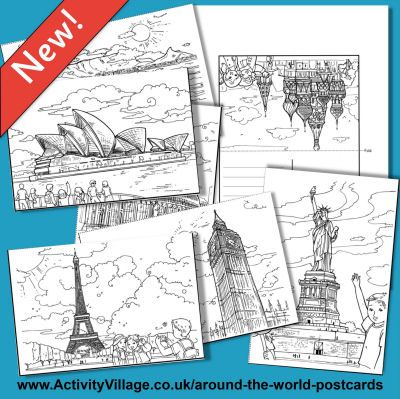 Perfect for Thinking Day, postcards from around the world to color and learn from!