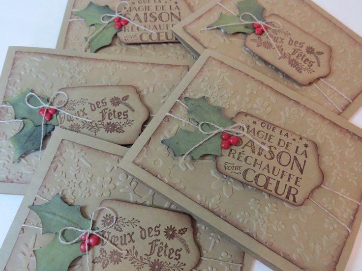 Carte de Noël, carte des fêtes, carte de Noël rustique «Feuille de gui»  Français Stampin' Up! de la boutique Lamainalacarte sur Etsy