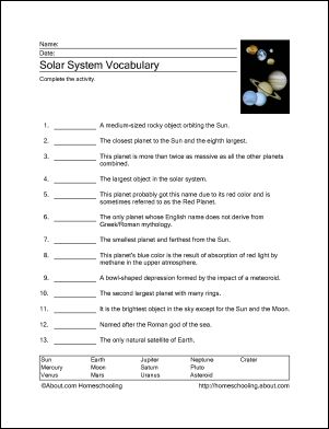 grade solar system questions - photo #13