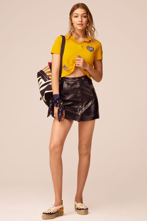 Another #trendy outfit we love from Tommy Hilfiger X GiGi Hadid   Collection!  #Fashion #Style #ootd #celebritystyle #gigihadid #trend #fashiontrend #womensfashion #tommyhilfiger #outfitoftheday #outfit #leatherskirt #instyle