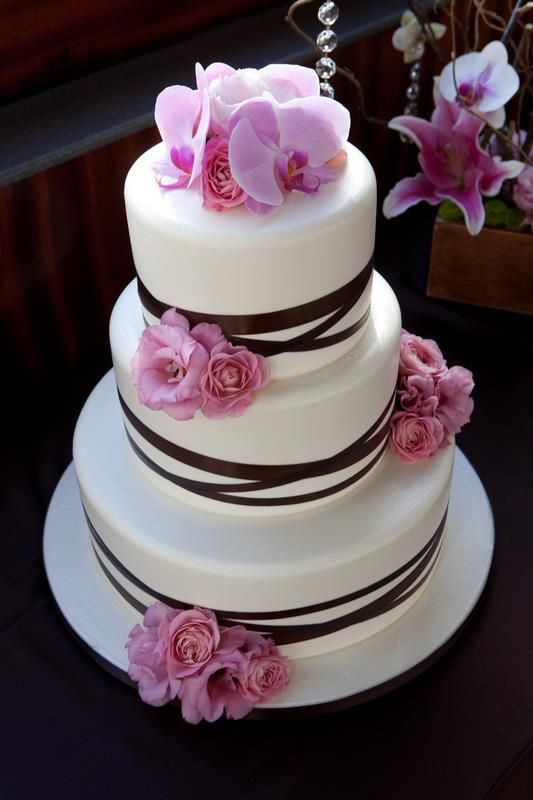 Pink Orchid, Black & White Wedding Cake ~ Wedding by Hornblower Cruises & Events, CA