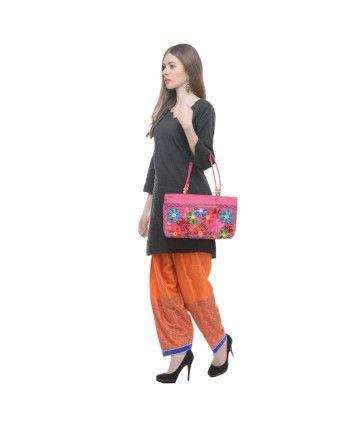 Orange Hand Block Shantoon Salwar with Bag @ 40% Off