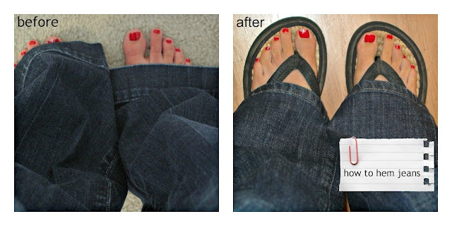 For all of my short friends!  How to hem your jeans keeping your original hem!  Hangin' Out w/ Rachel @ Holy Craft.