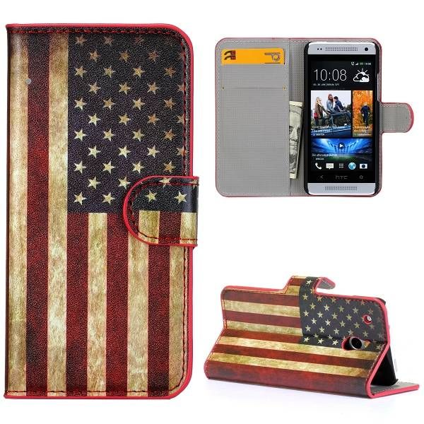Amerikaanse vlag bookcase hoesje voor HTC One mini