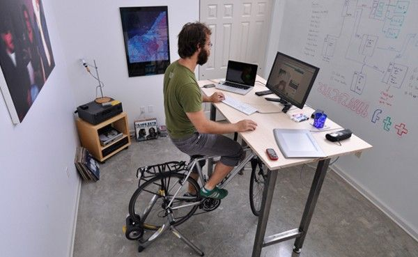 kickstand desk bike exercise work