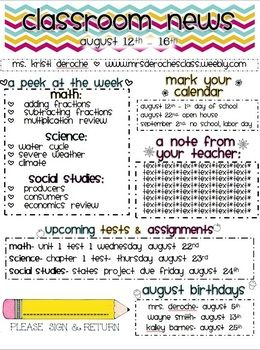 Chevron Themed Classroom Newsletter! Can be customized for any classroom. Only $1