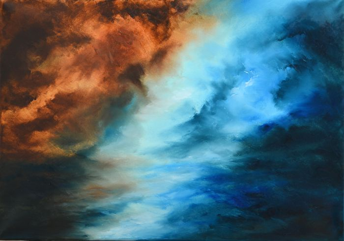"""Abstract Ocean Painting-A face over the ocean """"A face over the ocean"""" is an abstractocean painting The size of artwork is: 50 X 70 X 3 cm  The painting is made on high quality canvas, with the finest oil materials and it is varnished for protection against UV light and dust."""