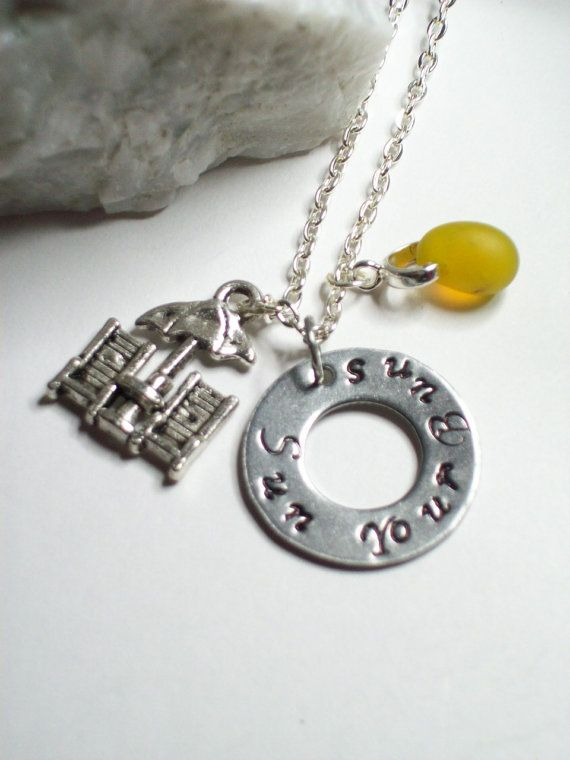 Sun Your Buns Metal Stamped Necklace Nudist by OMGILoveYourJewelry
