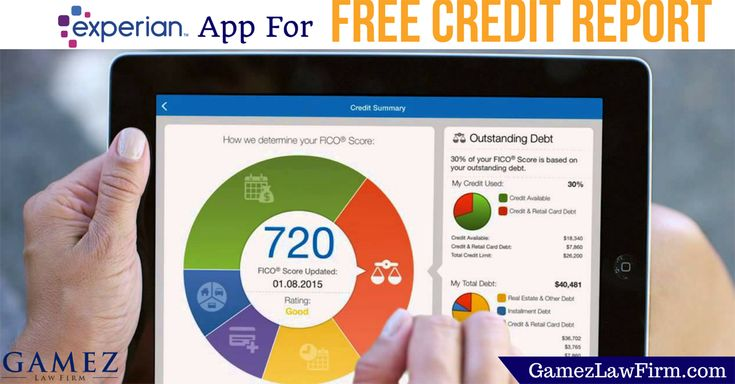 Experian Offers New App – Access Your FREE Credit Report Anytime, Anywhere! For a free credit repair consultation visit our website http://www.gamezlawfirm.com/contact/