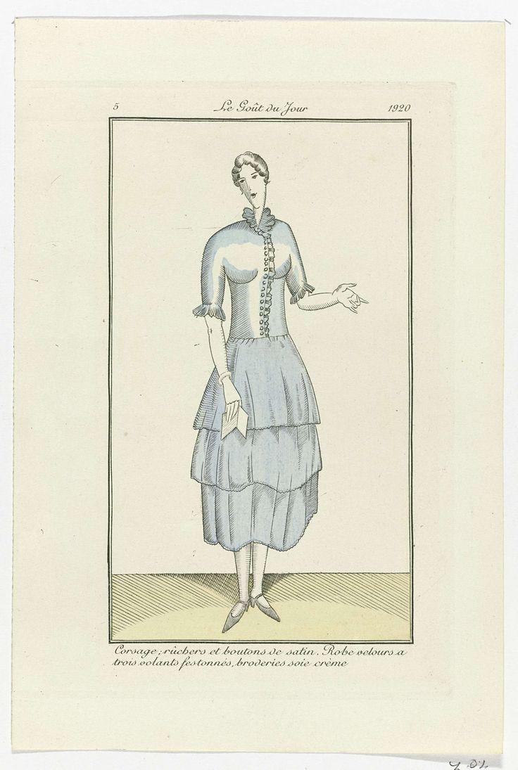 Anonymous | Le Goût du Jour, 1920, No. 5 : Corsage; rûchers et boutons de satin..., Anonymous, 1920 | Lijfje met ruches en knopen van satijn. Jurk van fluweel met drie gerimpelde stroken met geschulpte zoom en borduurwerk van crèmekleurige zijde. Prent uit het modetijdschrift Le Goût du Jour (1920-1922).