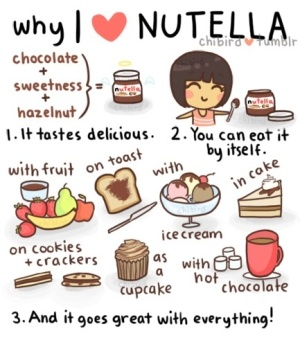 Nutella! :) wow that word sounds so good! :P I can eat Nutella with everything that is eatable, it is just so delicious!!<3