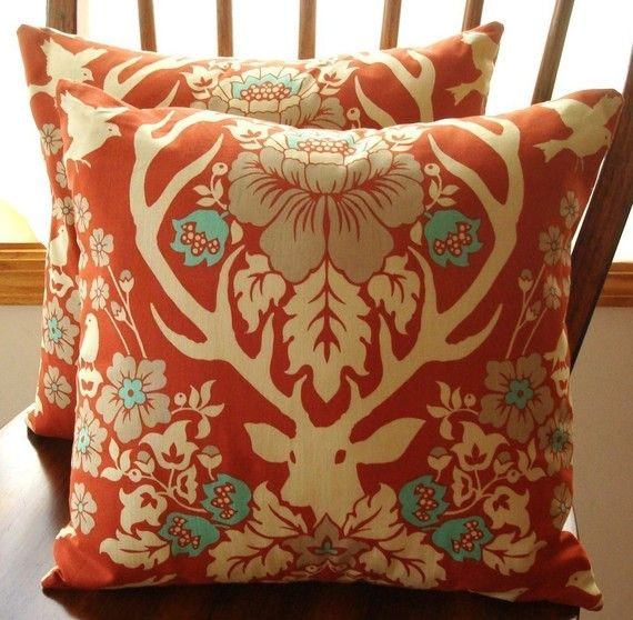 pillow cover antler damask in terra cotta 1 14 inch square envelope style closure