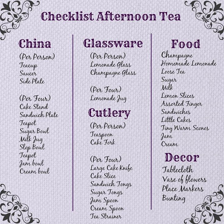 Afternoon tea checklist