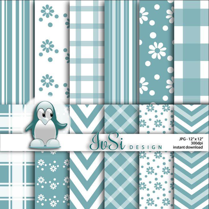 Stripes digital paper, flowers digital paper, chevron background, blue stripes digital background, flowers scrapbook, SALE until April 30th by IvSiDesign on Etsy