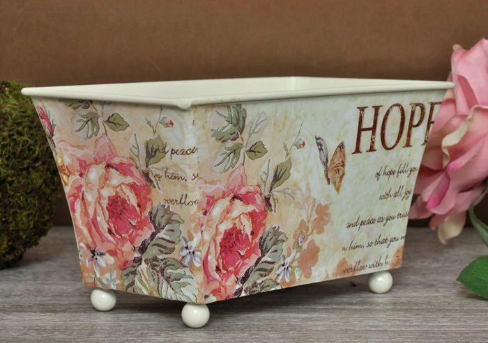 Uroczy Pojemnik Róże Decoupage Prowansja / Charming Container Roses Decoupage Provence