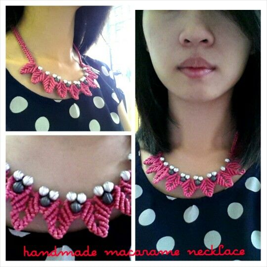 Handmade macarame necklace.   Learnt from #macarameschool youtube