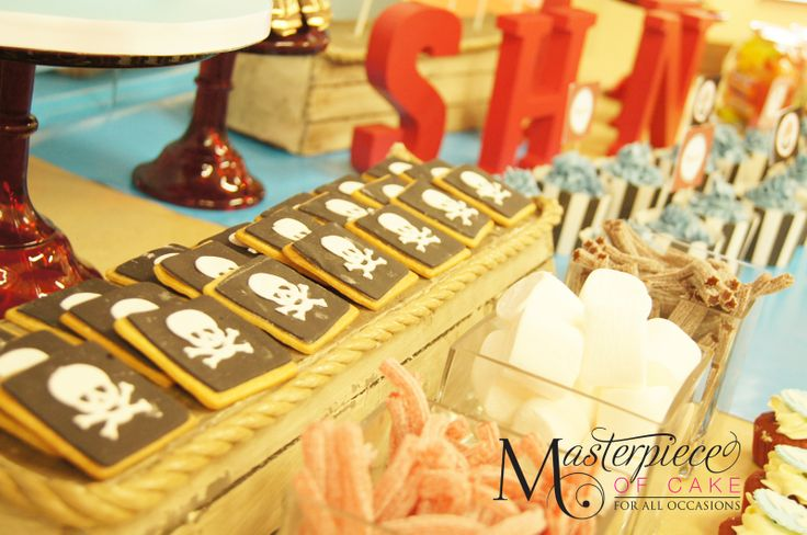 Pirate themed Dessert/sweet table close-up. Styling, sweets and picture by Masterpiece Of Cake.