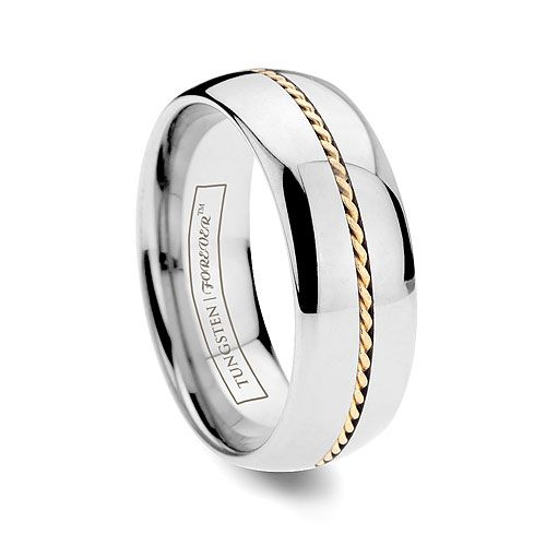 Tungsten Platinum: CORONA 6MM/8MM Dome Tungsten Ring With Hand Woven Gold