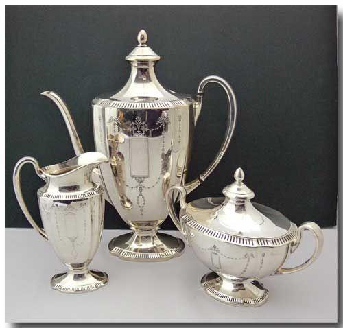 GROSVENOR SILVER PLATED 3PCS COFFEE/TEA POT, CREAM & SUGAR SET