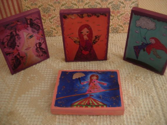 The Dream CollectionMini art woodblocks /mixed media by eltsamp, $28.00