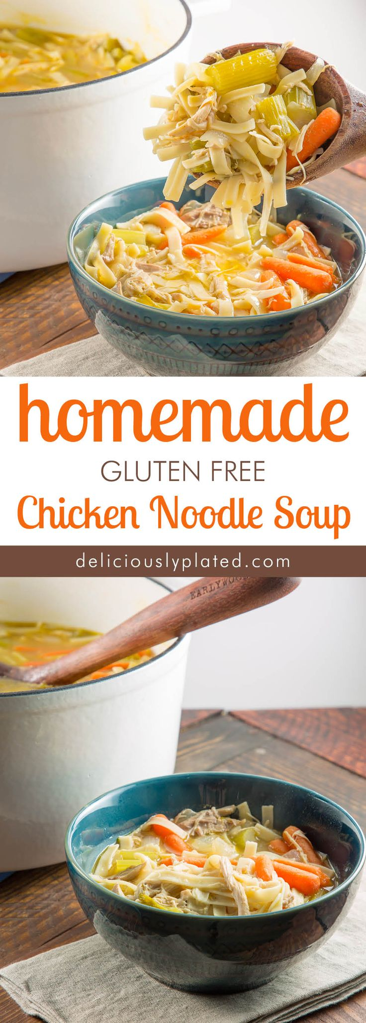 Hearty and Comforting, this homemade chicken soup is the perfect Fall dish! #glutenfreeoption #comfortfood via @leslie9612