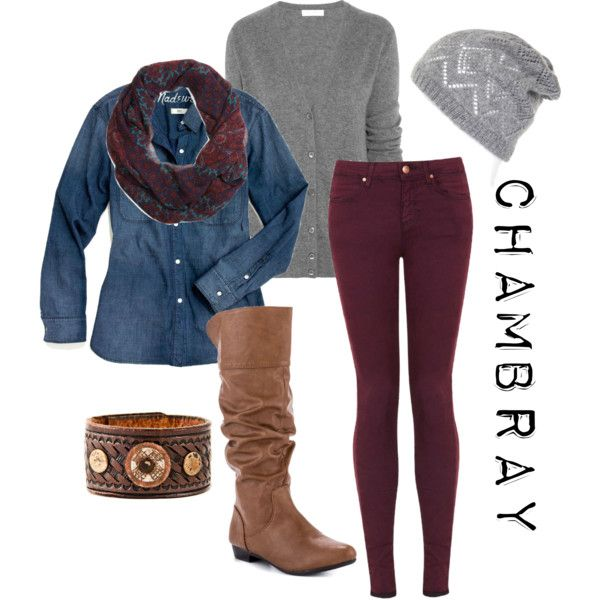 Chambray. Wouldn't put the gray cardigan with this outfit but cute other wise