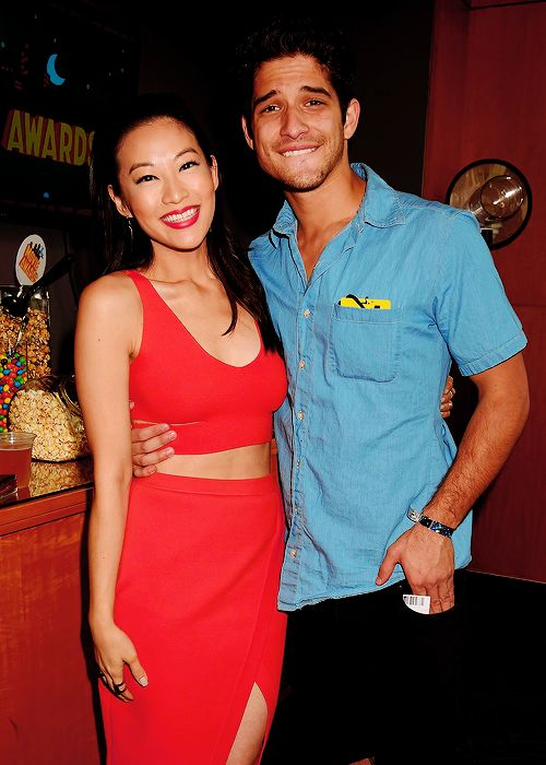 Arden Cho and Tyler Posey backstage at the 2015 MTV Movie Awards