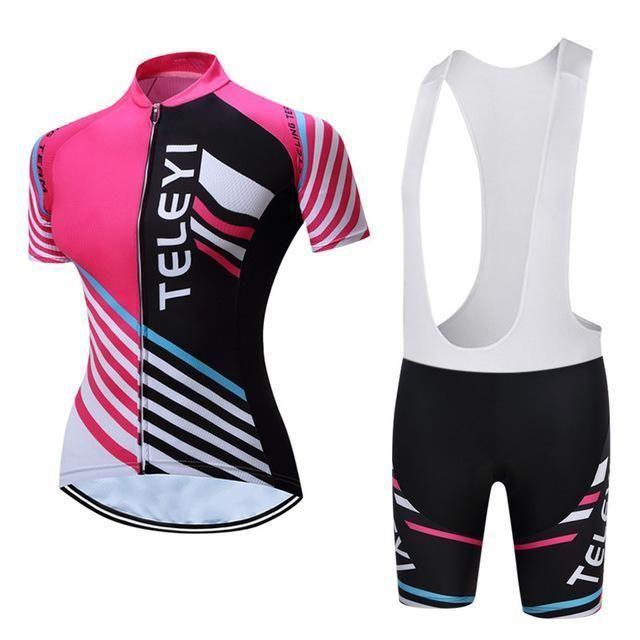 Women Cycling Jersey Bib Shorts Set Bicycle Sportwear Clothing Ropa Ciclismo