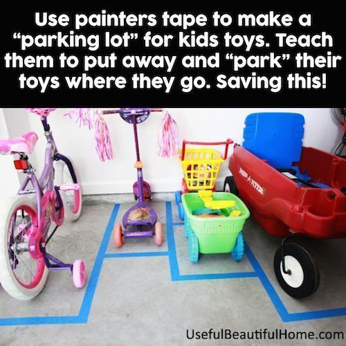 Use painters tape to create parking spaces for even the kids vehicles. Toddler Tips and Tricks – Hacks for New and Old Moms on Frugal Coupon Living. #parentingadviceboys #parentingtipsforboys