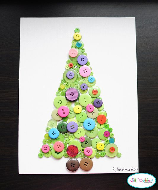 Button tree. 32 Fun Kids' Craft Ideas for Homemade Christmas Decorations from