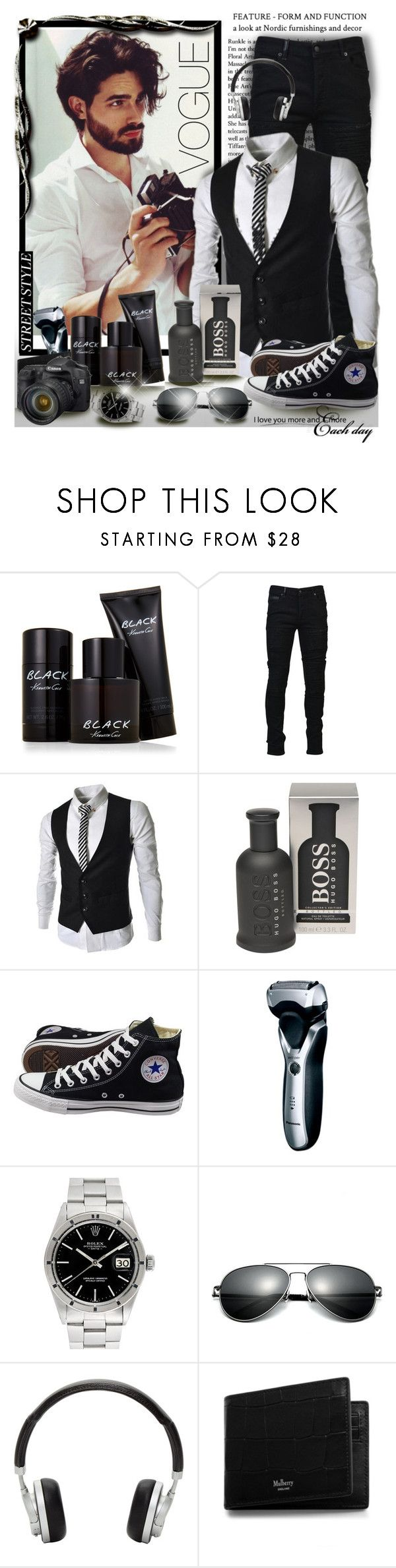 """""""Men's fashion ♥️"""" by gianna-pellegrini ❤ liked on Polyvore featuring Kenneth Cole, Marcelo Burlon, BOSS Hugo Boss, Converse, Panasonic, Rolex, Master & Dynamic, Mulberry, men's fashion and menswear"""