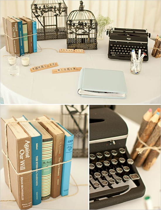 Typewriter/scrabble/book wedding table ideas